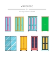 set wardrobes cabinets vector image
