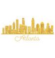 atlanta usa city skyline golden silhouette vector image vector image
