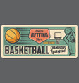 basketball player with sport ball basket and hoop vector image vector image