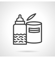 Black line milk formula and bottle icon vector image