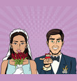 bride and groom pop art cartoon internet security vector image vector image