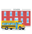bus passing school isolated cartoon vector image vector image