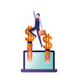 business man with set icons vector image