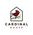 cardinal bird house home romortgage line color vector image vector image