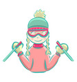 cartoon girl skiing in winter vector image vector image