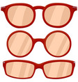 cartoon icon poster woman red glasses spectacles vector image vector image