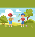 children plant seedling happy kid boy farmer vector image vector image