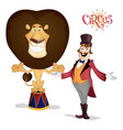 circus tamer and lion posing vector image
