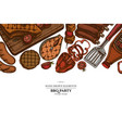colored elements design with spatula pork ribs vector image