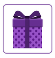 Colorful wrapped gift box icon lilac vector image
