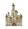 fairytale medieval castle sketch engraving vector image vector image