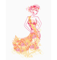 floral fashion girl poster vector image