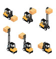 forklifts reliable heavy loader trucks vector image