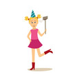 girl woman in birthday party hat making selfie vector image vector image