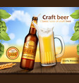 glass brown bottle and mug with craft beer vector image vector image