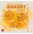 hand drawn sketch cupcake cake croissant vector image