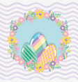 happy eggs easter with flowers design vector image