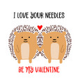 hedgehogs couple in love valentines day card vector image vector image
