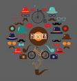 hipster colorful retro vintage icon set vector image vector image