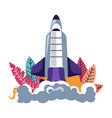 launching rocket spacecraft leaving clubs of smoke vector image