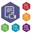 Like document rhombus icons vector image vector image