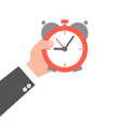 male hand holding a clock vector image