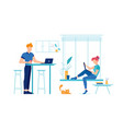 man and woman with laptops on kitchen home vector image vector image