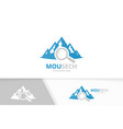 mountain and loupe logo combination nature vector image vector image