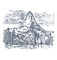 mountains peaks vintage matterhorn old looking vector image vector image