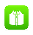 open thick book icon digital green vector image vector image