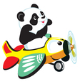 panda flying with plane vector image vector image