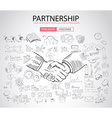 PartnerShip concept with Doodle design style vector image vector image