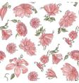 Pink flowers over white spring seamless pattern vector image