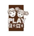 play zone for kids children sketch banner logo vector image vector image