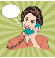 Popart comic retro woman talking by phone vector image vector image