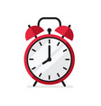 red alarm clock in flat style vector image