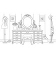 room with a lady table with vector image vector image