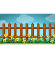 Scene with wooden fence and flowers vector image vector image