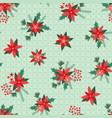 seamless pattern simple christmas flowers vector image vector image