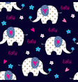 seamless pattern with cute elephants vector image vector image
