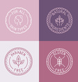 set badges and emblems in trendy linear style vector image vector image