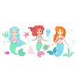 set cute mermaids vector image