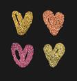 set of 4 decorative hearts vector image vector image