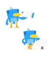 set of funny cartoon blue bird vector image