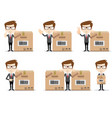 set of funny cartoon office worker in various vector image vector image