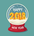 snow globe with 2018 and flying snowflakes vector image vector image