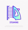 steaming clothing thin line icon vector image vector image