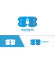 ticket and rocket logo combination ducket vector image