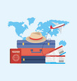 travel baggages with passport and tickets with vector image vector image