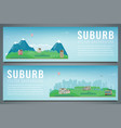 two city banners with suburban landscape building vector image